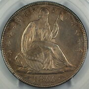 1855-o Seated Liberty Silver Half Dollar Pcgs Unc Details Quest. Color Choice