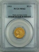 1911 2.50 Indian Gold Coin, Pcgs-ms-62, Quarter Eagle, High End Coin