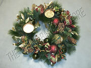 Frontgate Christmas Holiday Centerpiece Table Wreath Pinecones Red Green 32