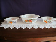 Fire King Gay Fad Casserole Dishes 1 1/2 Quart And Two 1 Pints Beautiful Patterns