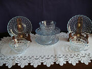 Fire King Fireking Four Blue Bubble Four Cups And Saucers Antique Glassware