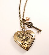 Antique Bronze Love Locket Necklace-vintage Style Jewellery Jewelry -heart And Key