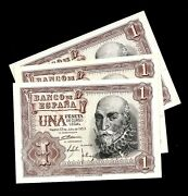 Extremely Rare Gorgeous Banknote Spain 1 Pesetas 1953 Unc 3 Consecutive Notes