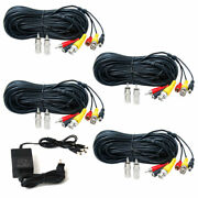 4 X 50 Ft Security Camera Video Audio Rca Extension Av Cables And Power Supply Cga