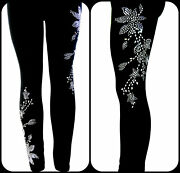 Plus Size Full-length Leggings Embellished Rhinestone And Stud Silver Floral