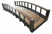 8' Japanese Wood Garden Bridge With Arched Railings, Made In Usa, New