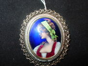 14k Yellow Gold French Enamel Cameo Pin Or Pendant-exquisite