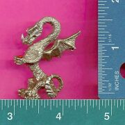 Lead Free Pewter Dragon With Red Genuine Austrian Crystal Figurines E5157-1
