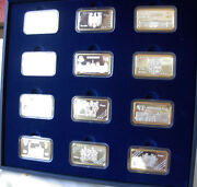 Set Of 12 Sterling Silver Plaques Commemorate Euro Coin- 1.januar 2002-372 Gr.
