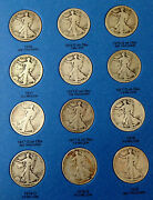 Walking Liberty Silver Half Dollar Complete Early Date Set 90 Silver Coins