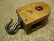 Vintage Wood And Hand Forged Iron Farm Pulley Antique Old