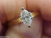 Beautiful 18k Gold Marquise Diamond Solitaire Ring .75 Ct Size 9 Make Offer