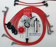 Red Small Block Chevy Small Hei Distributor+chrome Coil+plug Wires Under Exhaust