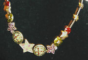 Handmade Green Badge And Crystal Charm Necklace By Pilgrim - 14 To17 Long New