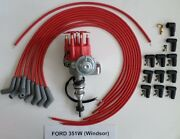 Ford 351w Windsor Red Small Cap Hei Distributor And Universal Spark Plug Wires 45