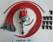 Small Block Ford 289-302 Red Small Hei Distributor,universal Spark Plug Wires 45
