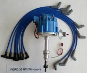 Ford 351w Windsor Blue Hei Distributor And 8mm Spiral Core Spark Plug Wires Usa