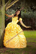 Dress Beauty And Beast Belle Costume Adult Sz 6810121416 Rose Detail