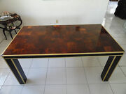 Extravagant Chic 70s Brass And Chrome Willy Rizzo Olive Wood Burl Dining Table