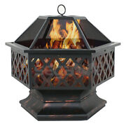 Fire Pit Heater Backyard Wood Burning Patio Deck Stove Fireplace Table Outdoor