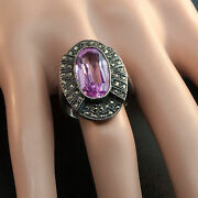 Vintage Sterling Silver Morganite And Marcasite Ring