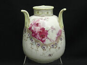 Large Antique Imperial Nippon Raised Moriage Japanese 3 Handled Vase Rose Motif
