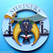 Shriners Universal Cut Out  High Quality Car Emblem White Gold 3 Inches