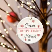 Personalized Our First Christmas Ornaments - Couples 1st Christmas - 8 Styles