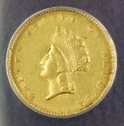 1855 Type 2 1 One Dollar Gold Coin Anacs Au-55 Details Cleaned