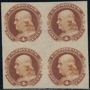 112-e4b 1andcent 1869 Small Numerical Plate Essay Block Of 4 Bq8336