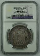 1848-bb France 5 Franc Silver Coin Hercules Ngc Au Details Surface Hairlines Akr