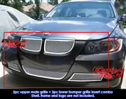 Aps Fits 06-07 Bmw 3-series E90 Sedan Stainless Steel Mesh Grille Insert Combo