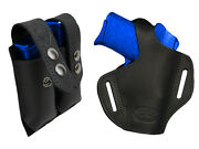 New Barsony Black Leather Pancake Holster+dbl Mag Pouch Ruger Kimber Comp 9mm 40