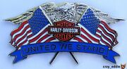 Harley Davidson Motorcycle United We Stand Vest Pin Usa Flags Patriotic