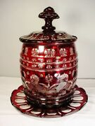 Museum Quality Covered Barrel Punch Bowl Bohemian Ruby Cut Overlay Ca1860 Large