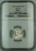 1926 Near 6 Canada 5c Five Cents Coin Ngc Ms-62 Scarce Date
