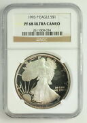 1993 P American Silver Eagle 1 Pf 68 Ultra Cameo Ngc Graded Coin