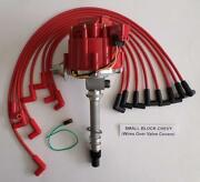Corvette Tach Drive Hei Distributor And Red Spark Plug Wires Over Valve Covers Usa