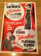 Gilda And Platinum Blonde 1950 Double Feature Poster Rita Hayworth And Jean Harlow