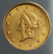 1853 Gold One Dollar 1 Anacs Ms-60 Better Coin