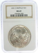 2001-d Silver Buffalo S 1 Ms69 Ngc Graded Certified Silver Uncirculated Coin