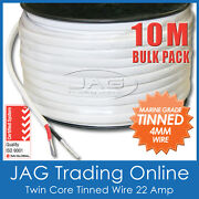 10m X 4mm Marine Grade Tinned 2-core Twin Sheath Wire / Boat Electrical Cable