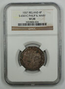 1557 Ireland 4p Silver Groat Coin S-6501c Philip And Mary Ngc Vf 20 Akr