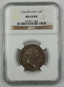 1766 Ireland 1/2 Penny Coin George Iii Ngc Ms 63 Bn Brown Akr