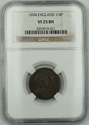 1694 England 1/4 Penny Farthing Copper Coin S-3452 William Iii Vf-25 Brown Akr