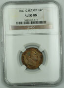 1837 Great Britain 1/4 Penny Farthing Copper Coin George Iv Au 53 Brown Akr