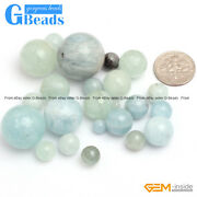 Aquamarine Round Gemstone Beads Smooth Faceted Quantity Color Size Selectable