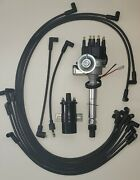 Sbc Chevy Small Black Hei Distributor + Spark Plug Wires Under Exhaust +45k Coil