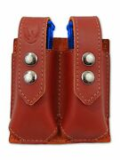 New Barsony Burgundy Leather Double Magazine Pouch Springfield Full Size 9mm 40