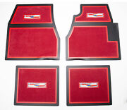 55 56 57 Chevy Red Carpet Floor Mats With Chevrolet Crest Logo 1955 1956 1957